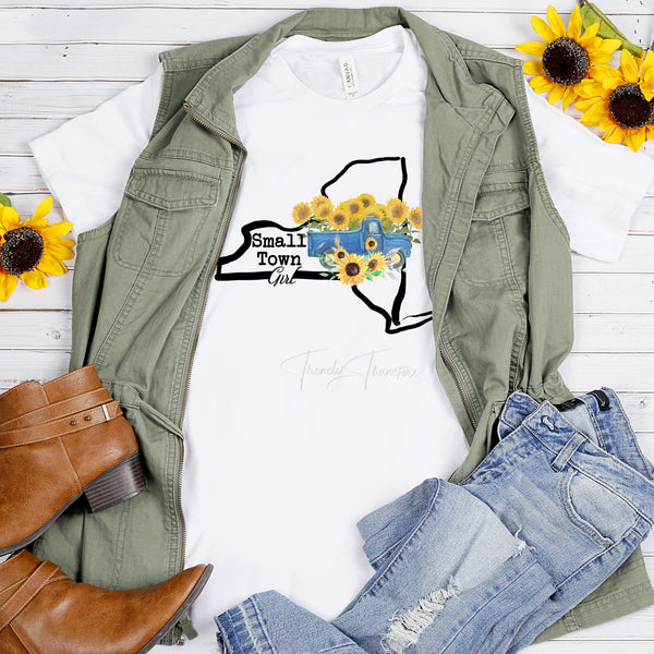 Small Town Girl Sunflower Vintage Classic Truck New York Sublimation Transfer