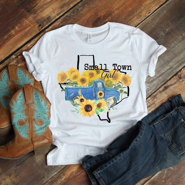 Small Town Girl Sunflower Vintage Classic Truck Texas Sublimation Transfer