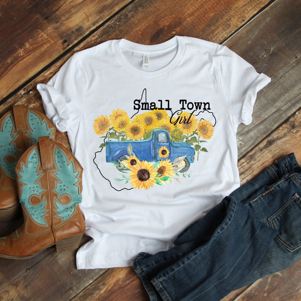 Small Town Girl Sunflower Vintage Classic Truck West Virginia Sublimation Transfer