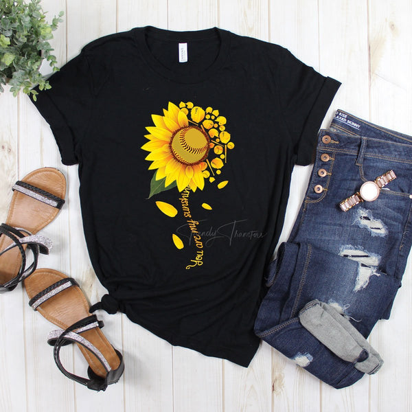 Softball Sunflower You Are My Sunshine Screen Print Heat Transfer