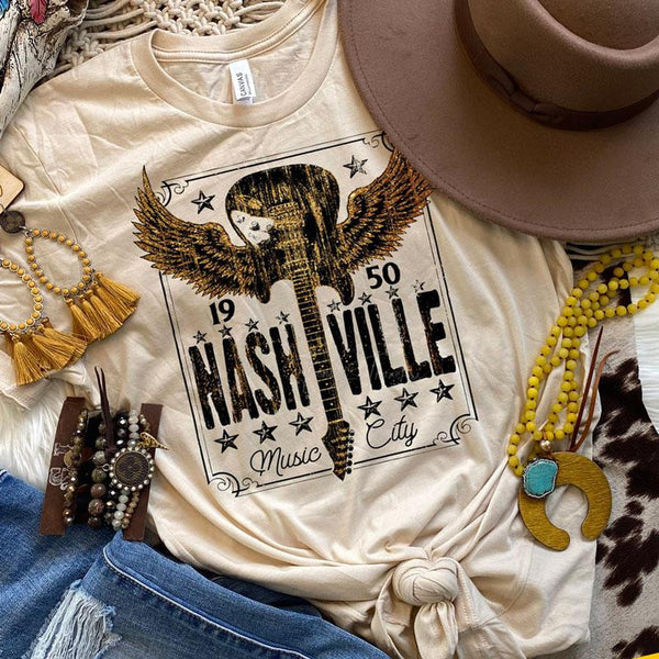 Nashville Music City BLACK Screen Print Heat Transfer