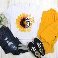 Watercolor Sunflower Be The Change Sublimation Transfer