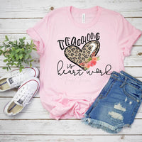 Teaching Is Heart Work Leopard Print Screen Print Heat Transfer