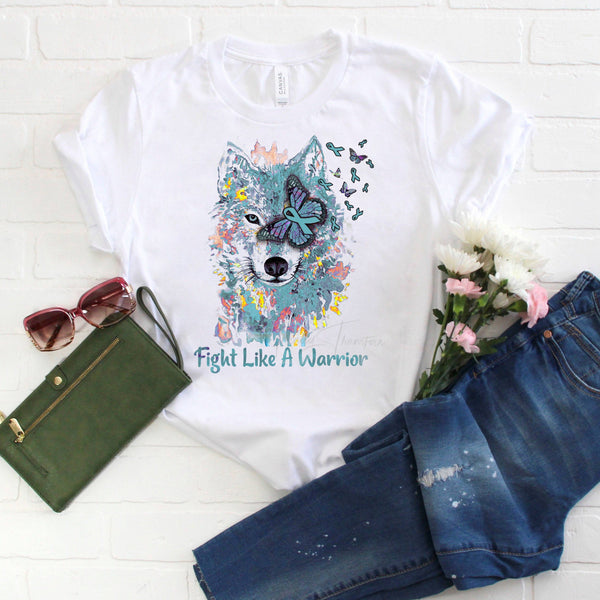 Teal Blue Ribbon Awareness Wolf Watercolor Sublimation Transfer