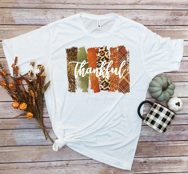 Thankful word art fall colors plaid leopard glitter pattern Sublimation Transfer