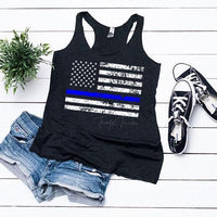 Thin Blue Line Distressed Flag Adult Screen Print Heat Transfer