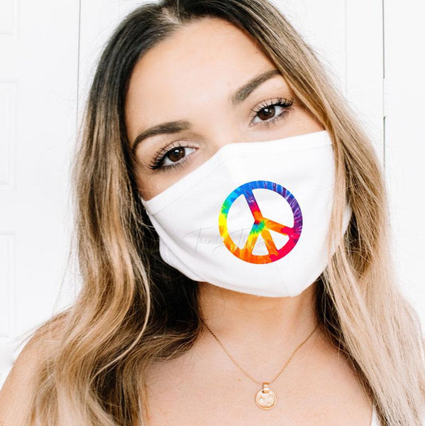 Tie Dye Peace Sign POCKET/MASK Screen Print Heat Transfer