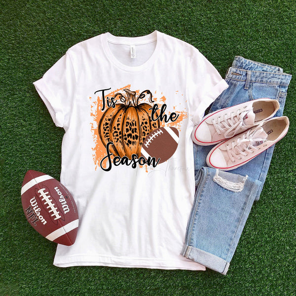 Tis the season Football and Leopard Pumpkin Sublimation Transfer
