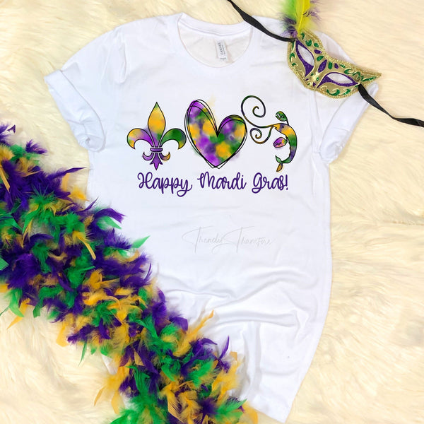 Watercolor Happy Mardi Gras Sublimation Transfer