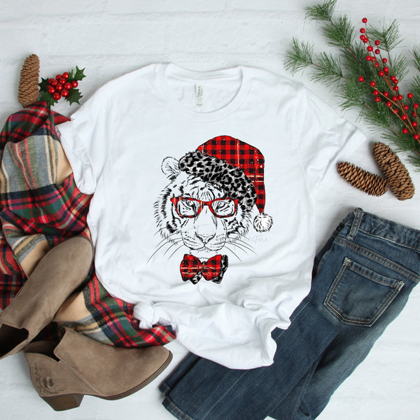 White tiger christmas santa leopard and plaid Sublimation Transfer