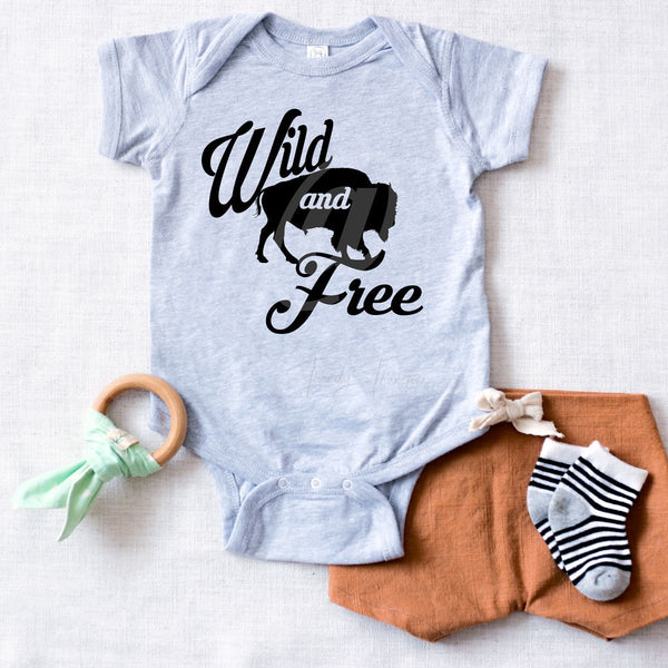 Wild And Free Buffalo Infant Screen Print Heat Transfer