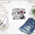 Living Life Somewhere Between Jesus Take the Wheel Sublimation Transfer