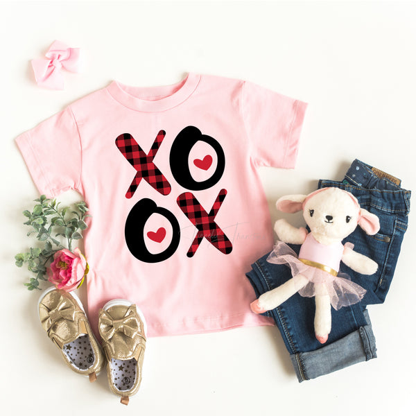 Plaid XOXO YOUTH valentines Screen Print Heat Transfer