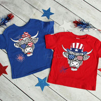 Patriotic Shaggy Cow Male YOUTH  Screen Print Heat Transfer