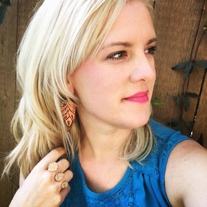 Baby Tooled Leather Earrings