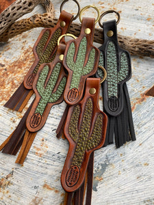 Cactus Leather keychain