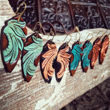 Tiger Tail Tooled Leather Earrings