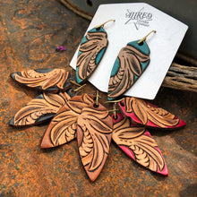 Load image into Gallery viewer, Tiger Tail Tooled Leather Earrings