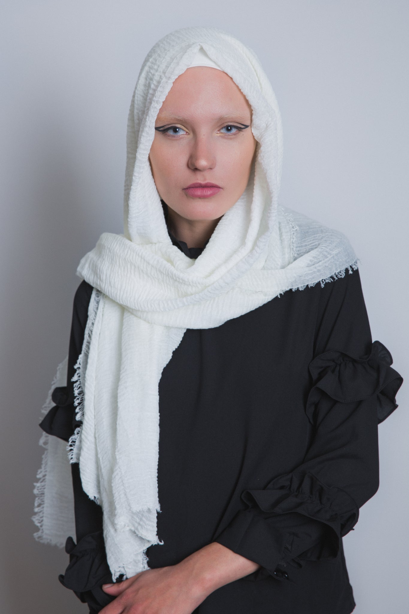 Ivory Crinkled Cotton Scarf - LunasEssentials.com