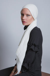 Ivory Crinkled Cotton Scarf