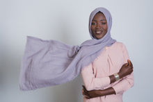 Load image into Gallery viewer, Lilac Grey Cotton Crinkled Scarf - LunasEssentials.com