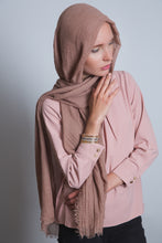 Load image into Gallery viewer, Light Brown Crinkled Cotton Scarf - LunasEssentials.com