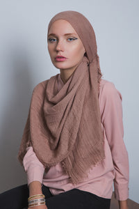 Light Brown Crinkled Cotton Scarf - LunasEssentials.com