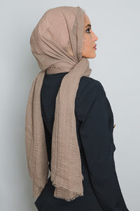 Brown Crinkled Cotton Scarf - LunasEssentials.com
