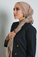 Brown Crinkled Cotton Scarf