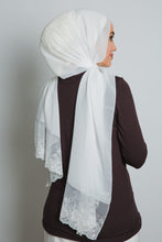 Load image into Gallery viewer, Cream Lace Crepe Scarf - LunasEssentials.com