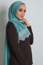 Load image into Gallery viewer, Mint Lace Crepe Scarf - LunasEssentials.com
