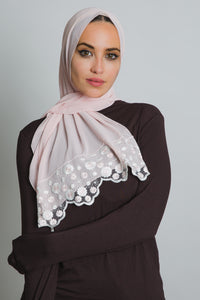 White Floral Pink Lace Scarf - LunasEssentials.com