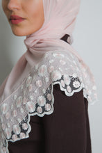 Load image into Gallery viewer, White Floral Pink Lace Scarf - LunasEssentials.com