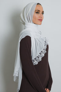 White Lace Crepe Scarf - LunasEssentials.com