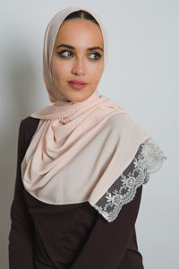 Salmon Lace Crepe Scarf - LunasEssentials.com