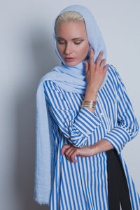Sky Blue Crinkled Cotton Scarf - LunasEssentials.com