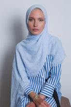 Load image into Gallery viewer, Sky Blue Crinkled Cotton Scarf - LunasEssentials.com