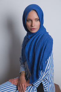 Royal Blue Crinkled Cotton Scarf - LunasEssentials.com
