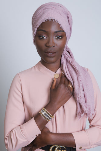 Dusty Rose Crinkled Cotton Scarf - LunasEssentials.com
