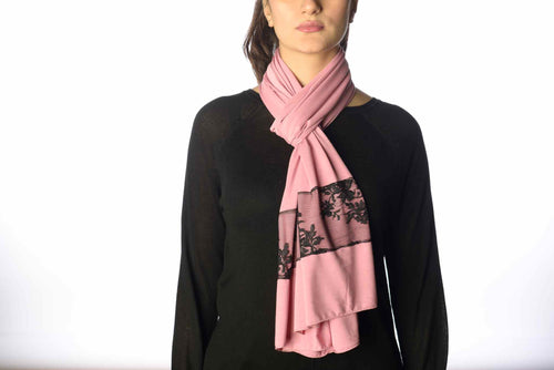 Pink Jersey Cotton Black Lace Scarf