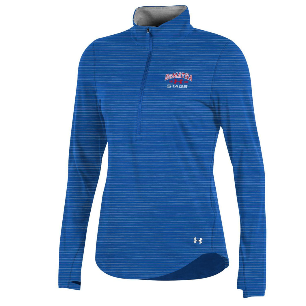 UA W Charged Cotton 1/2 Zip L/S Tee