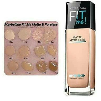 Maybelline fit Me matte foundation.