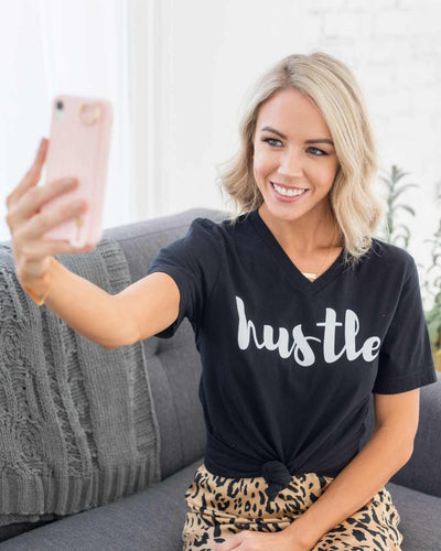 Hustle t-shirt, girl boss style, girl boss clothing, girl boss quotes, gifts for female entrepreneurs, girl boss gifts, gifts for female ceo, gifts for professional women