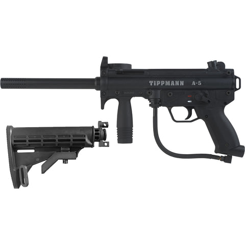 Tippmann A5 Gun Black + Adjustable Car Stock