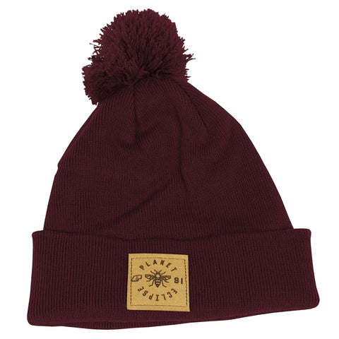 Planet Eclipse Worker Pom Beanie Burgundy