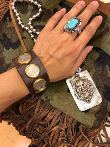 Authentic Buffalo Indian Coin Leather Cuff