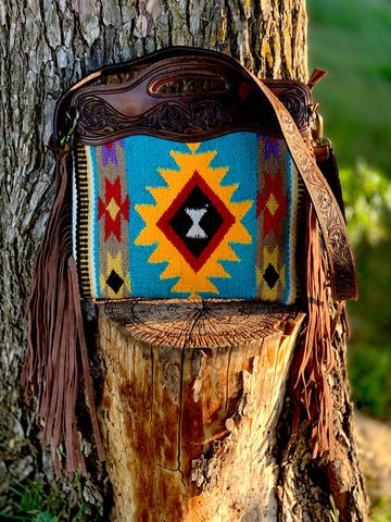 Turquoise sunrise saddle bag