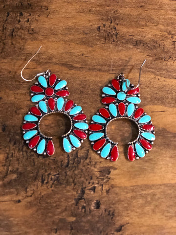 Red/Turquoise floral earrings