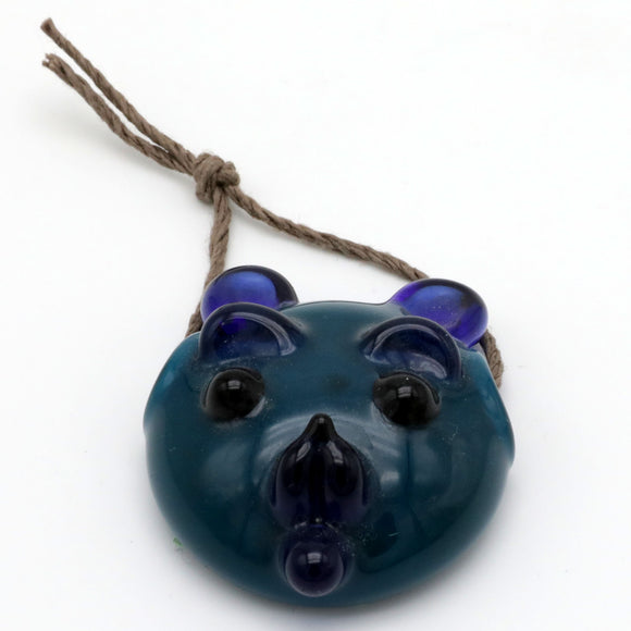 Blue Teddy Bear Face Pendant