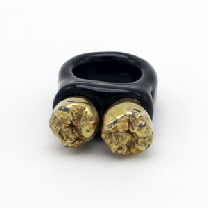 Black/ Gold Teeth Glass Ring